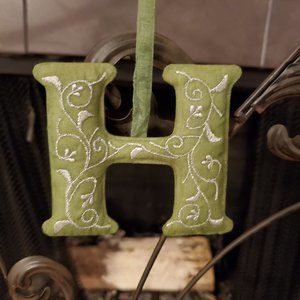 """Hand Embroidered Letter Ornament- """"H"""""""
